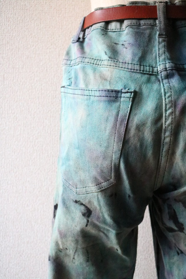 Vintage tie-dye flair denim pants