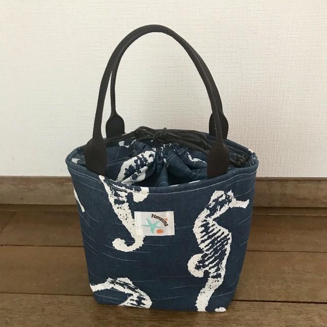 ミニ巾着バッグ(ネイビー/タツノオトシゴ)