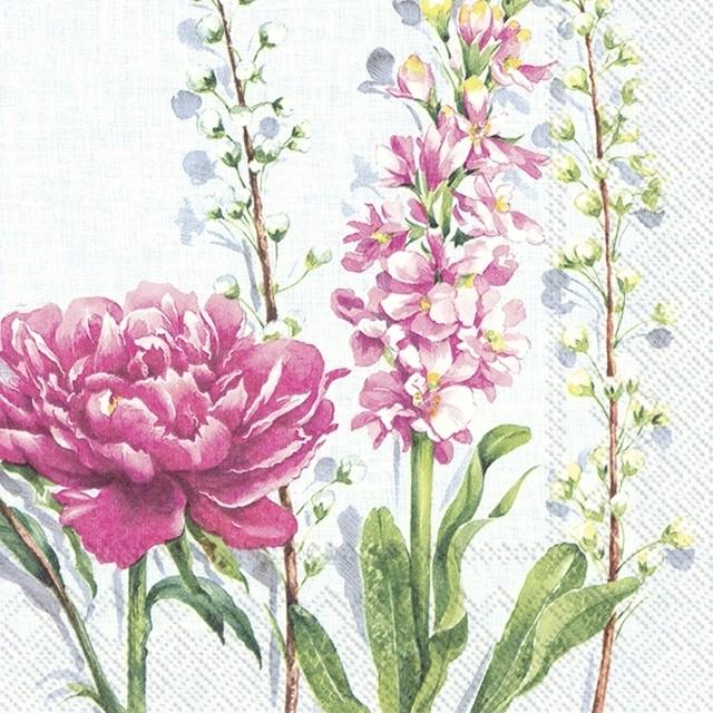 2021春夏【IHR】バラ売り2枚 ランチサイズ ペーパーナプキン PFINGSTROSE ライトブルー