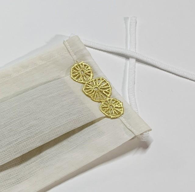 お出かけマスク、「プラチナ箔 森の花P」医化学的繊維と銀の糸を使った抗菌防臭