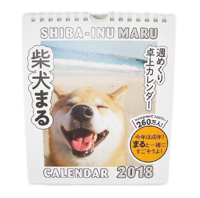 柴犬まる;カレンダー;2018年度 週めくり卓上カレンダー