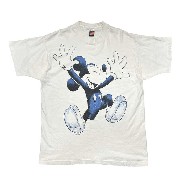 DISNEY VINTAGE 90's DRAWING MICKEY MOUSE TEE WHITE/BLUE ONE SIZE FIT ALL XL 97512