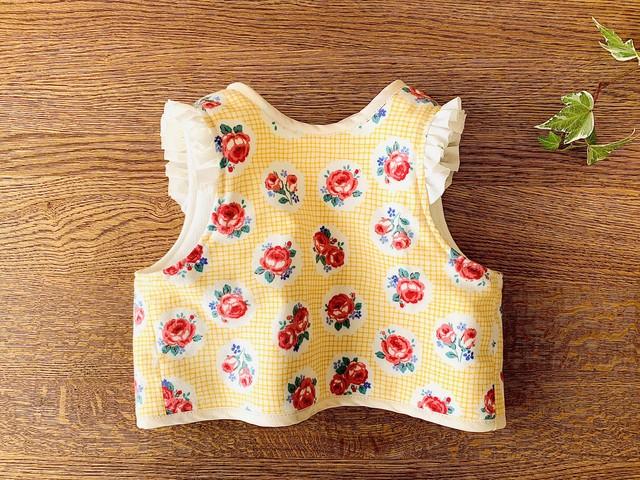 サッと羽織れるベビーベスト・トルコブルーの小花柄70cm
