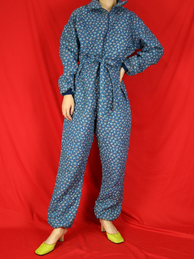 flower pattern quilting  jumpsuit【0544】