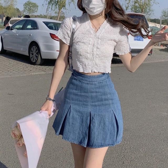 Ⅴネック ショート丈 カーディガン トップス 2色 B7854