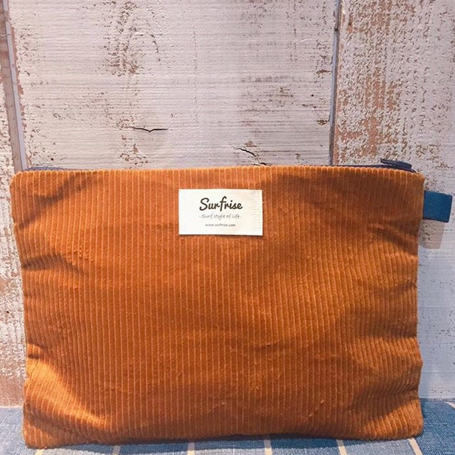 Corduroy clutch bag - Brown