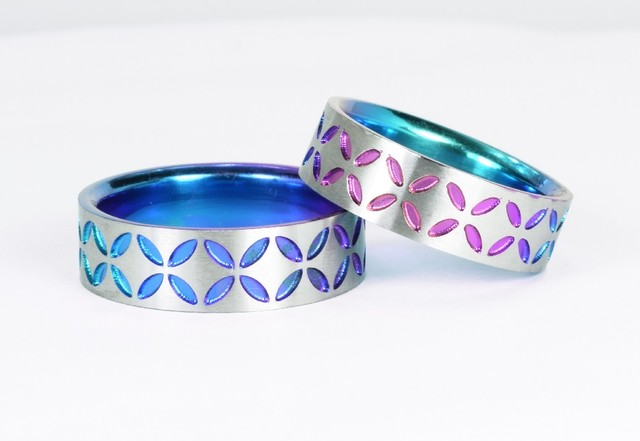 チタン結婚指輪 七宝柄【連】カラー 和柄 金属アレルギー対応