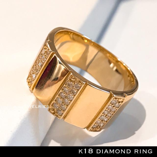 リング 18金 ダイヤ k18 天然 ダイヤモンド リング 男女兼用 / k18 diamond ring