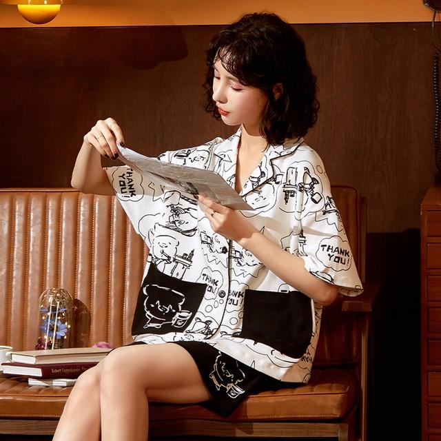 【小胖牛シリーズ】★チャイナ風パジャマ★ 2color 黒or白 セットアップ トップス+ショートパンツ コットン