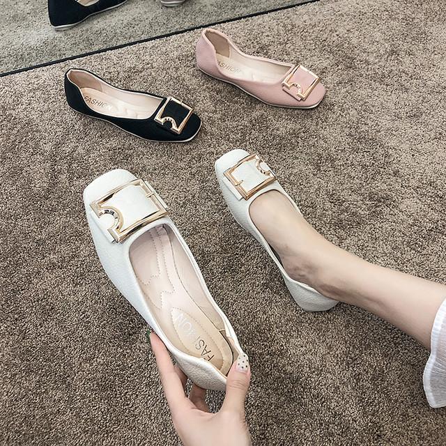 【shoes】ファッション韓国合わせやすい歩きやすい浅口フラットシューズ