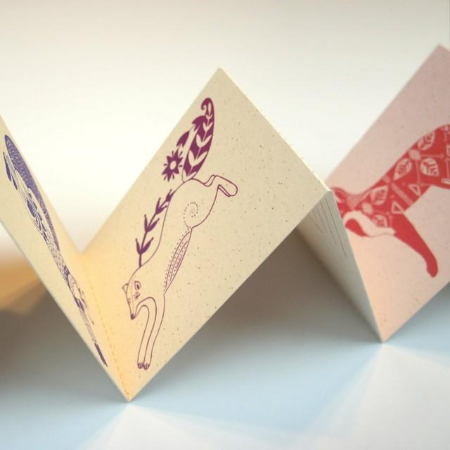 Ombre Fox Miniature Postcard Concertina Book