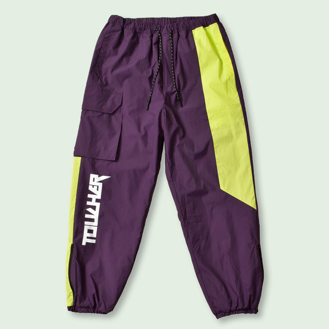 TCR-TEX SHELL JOGGERS - PURPLE/YELLOW
