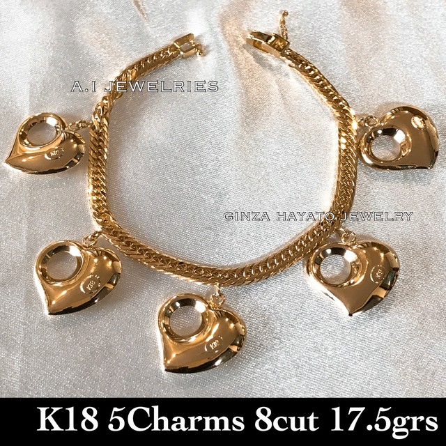 K18 18金 8面トリプル 喜平 kihei heart charm ハート チャーム ブレスレット 豪華 ラグジュエリー デザイン 18cm 新品 本物