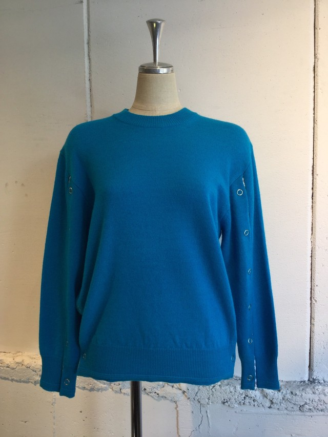 PONTI WOOL DOT BUTTON PULLOVER KNIT (TURQUOISE)