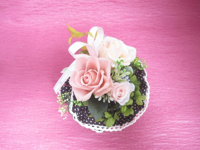 花いずもの誕生日花 (プリザーブドフラワー②:ラウンドポット) 「The  pink garden」