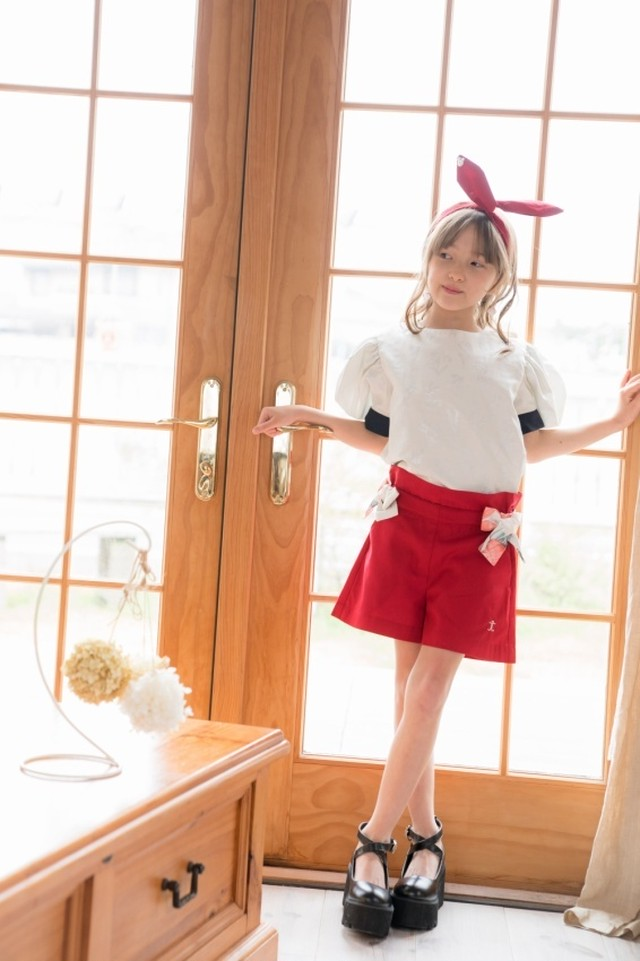 【NEW】FLARED SHORTS RED FLEUR