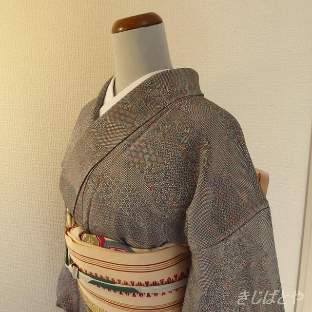 正絹 青とオレンジの江戸小紋 袷の着物