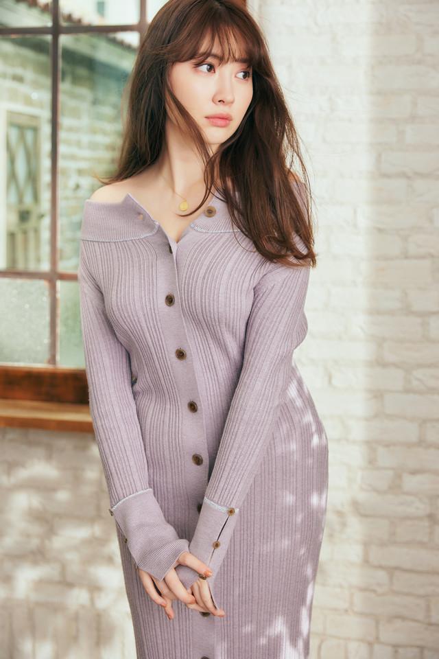 Ribbed Stretch-Knit Dress