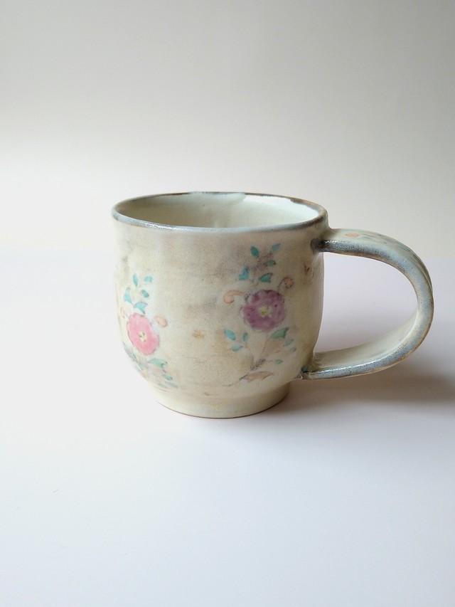 花更紗コーヒーカップ 薄茶