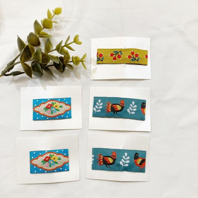 可愛い海外のリボンを使いました♡♡刺繡リボンパッチンピン(3type)