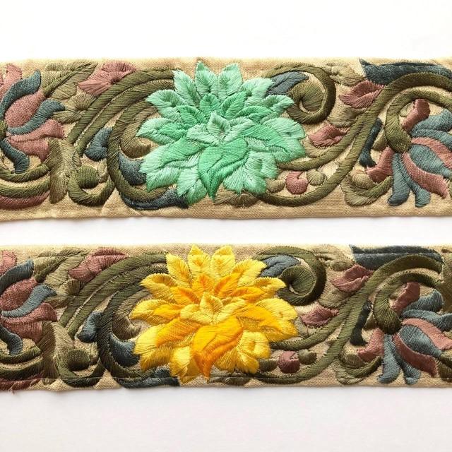 大きな菊花のインド刺繍リボン(4色)