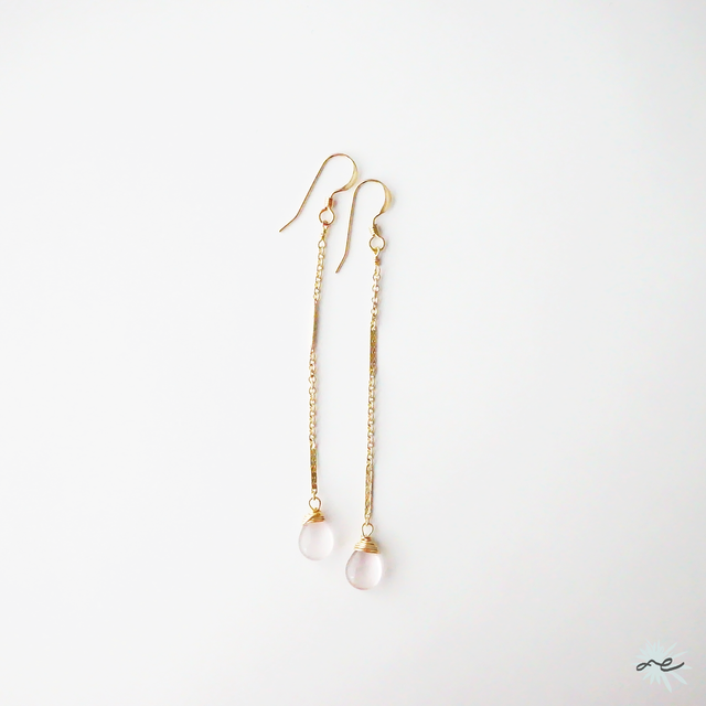 Star-Rose quartz・Long Chain Earrings/14KGF