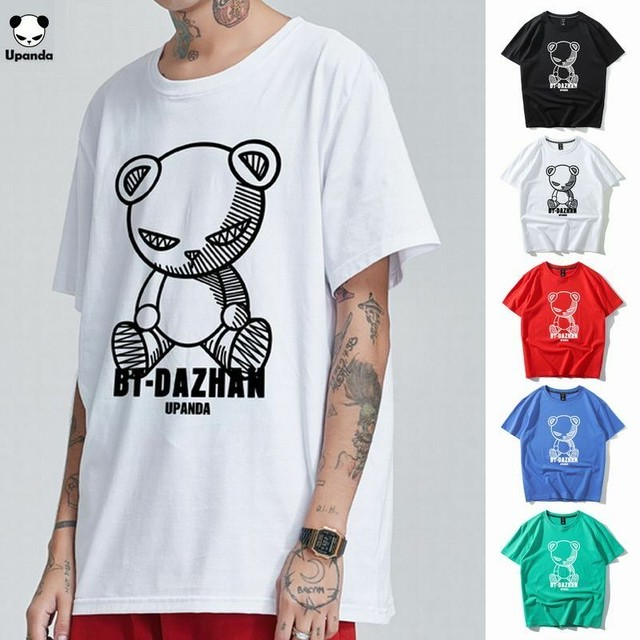 【5カラー】ユニセックス メンズ/レディース 半袖 Tシャツ パンダプリント UPANDA ストリート系 / Panda printed short sleeve shirt (DCT-596968018832)