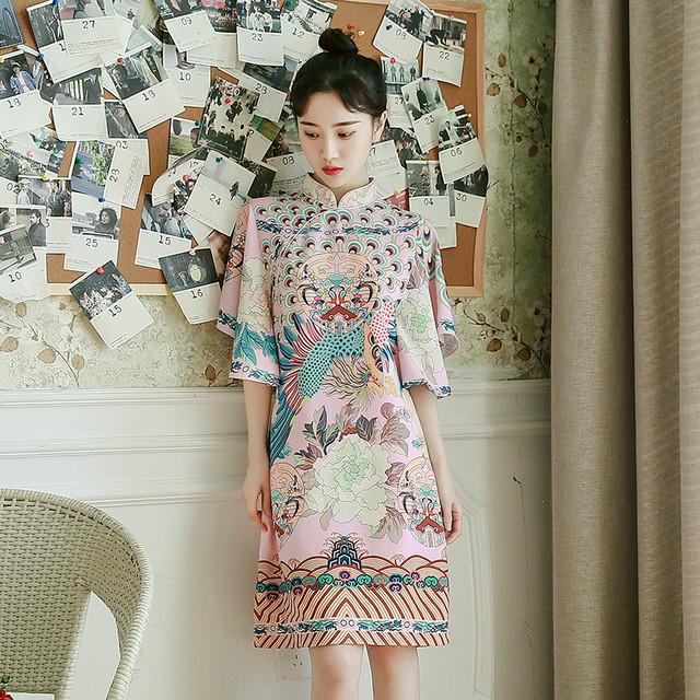 【dress】レトロエレガント半袖気質アッププリントワンピース