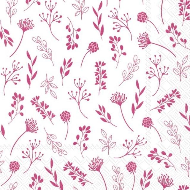 【IHR】バラ売り2枚 ランチサイズ ペーパーナプキン TILDA ホワイト×ピンク