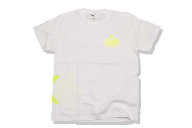 【STAR logo T-shirt】/white×neon yellow