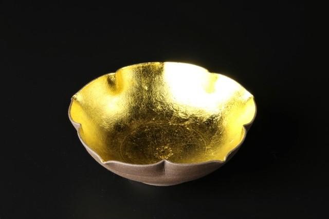 南蛮金箔桔梗型小鉢 清水焼