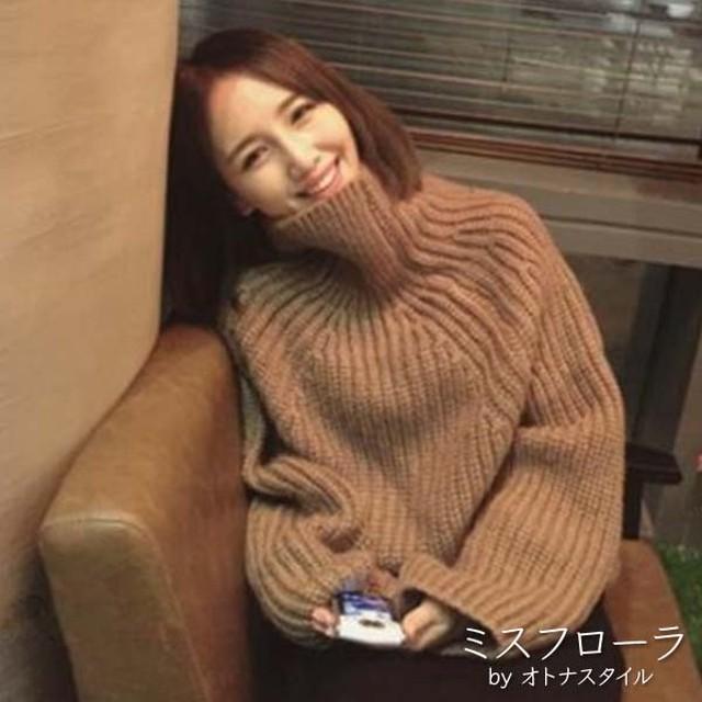 【予約】秋冬 タートルネック ドルマンスリーブ ロング丈 シンプルニット トップス