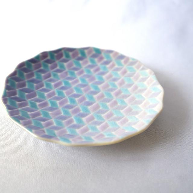 【九谷焼】淡いグラデーションの4寸小皿「紅掛空色」(藤色)