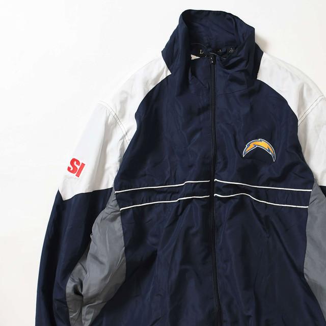 【Lサイズ】 NFL ナショナルフットボールリーグ LOS ANGELES CHARGERS NYLON JACKET NAVY GRAY L 400610191012