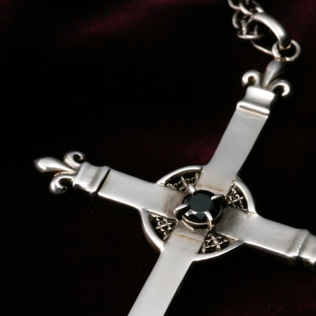 Lily Motif Cross with Black Zirconia