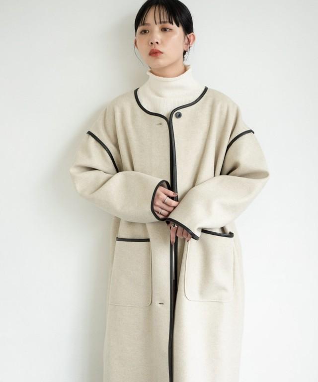ノーカラーパイピングコート【サイズ展開有】/BEG