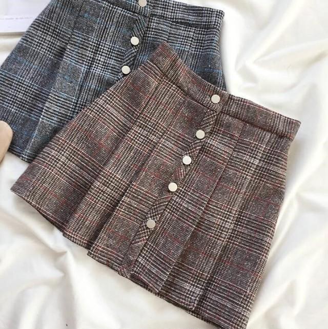 グレンチェック  ミニスカート 大人可愛い スカート 2カラー LNSK112204