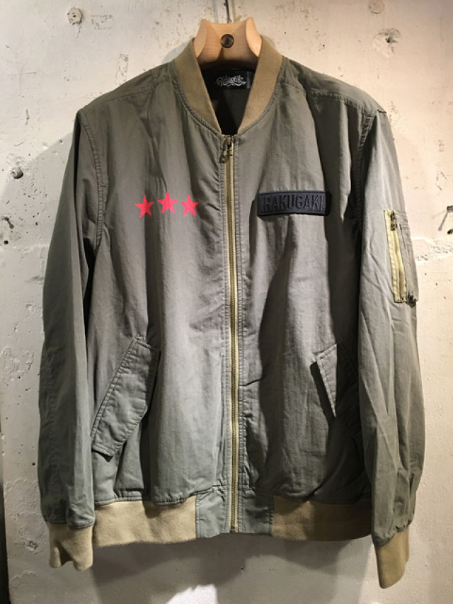 RAKUGAKI OLD ENGLISH STAR Logo MA-1 Khaki x Red