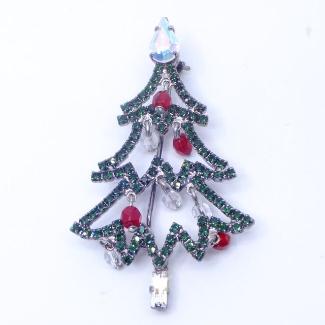 ブローチ ラインストーン クリスマスツリー  グリーン レッド 150678