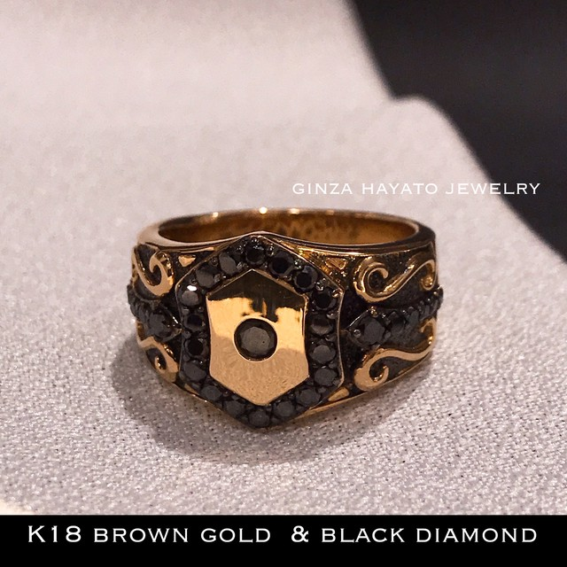K18 ブラックダイヤモンド メンズ リング ブラウン ゴールド ピンク ゴールド brown gold black diamond 18金 ring 指輪 リング メンズ 男性用