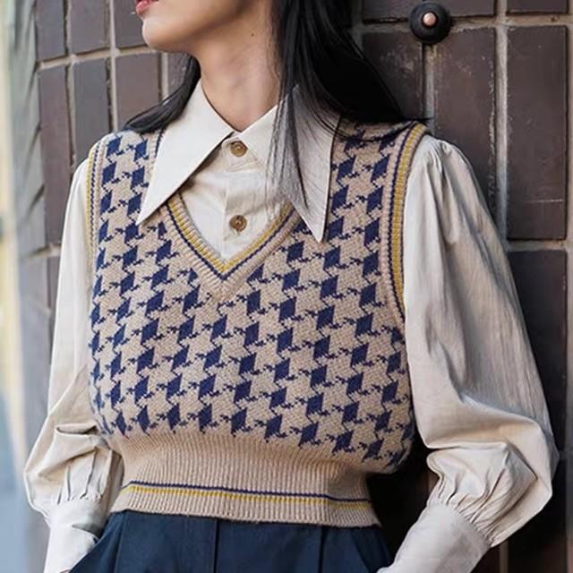 houndstooth pattern v neck vest