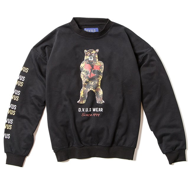 【Deviluse | デビルユース】Broken Bear DropShoulder Crewneck(Black)