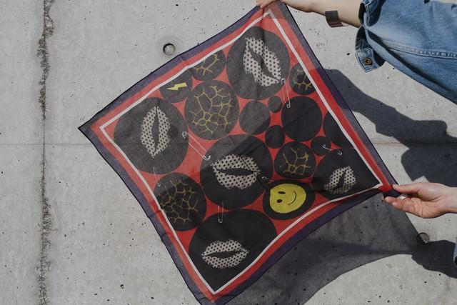 Organic Cotton Neckerchief '1977' Red リング付きミニスカーフ