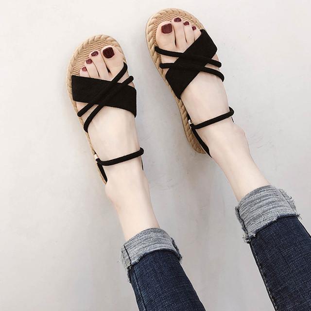 【shoes】レーディスファッションシューズブラック丸トゥサンダル