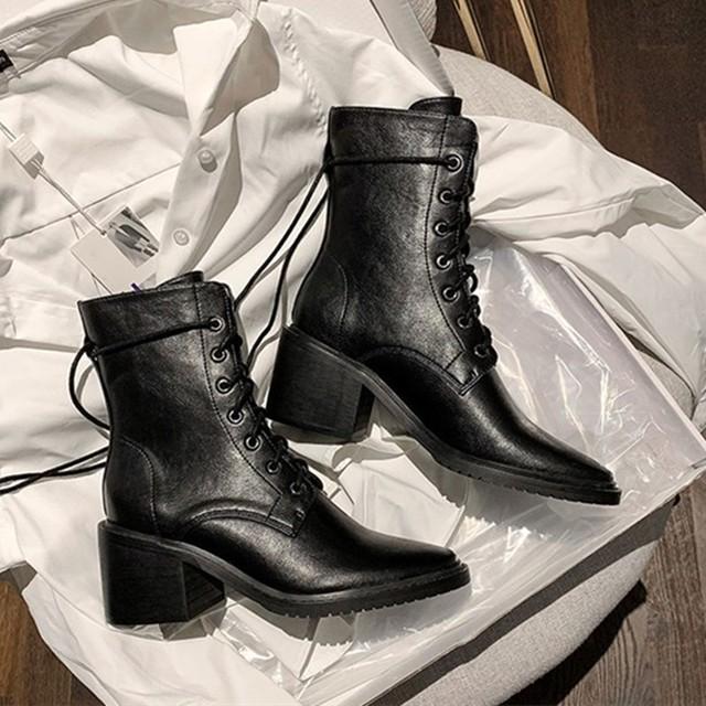 【シューズ】カジュアルチャンキーヒール編み上げ暖かいポインテッドトゥミドル丈ブーツ35558574