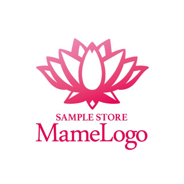 【ヨガスクール・エステサロン向け】蓮の花の洗練されたデザインでピンクのロゴ(170720_01_m)