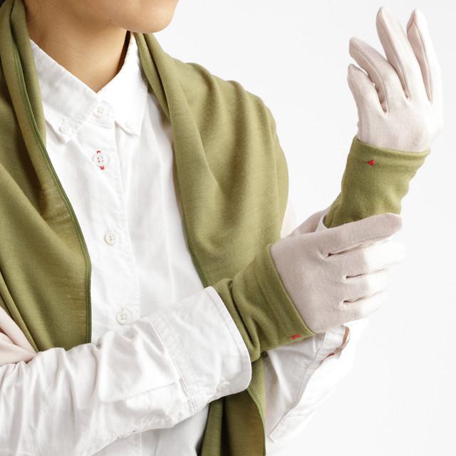 【セット販売】ピスタチオ × パールベージュ コーデ(お得な3点セット) ロングマフラーと手袋にリストマフラーをプラス
