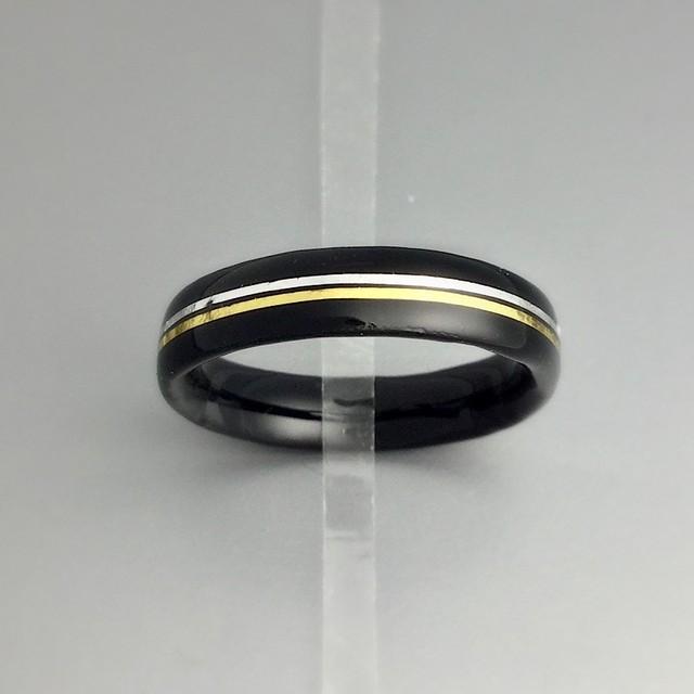 金箔プラチナ箔ラインの黒漆リング
