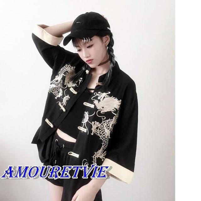 2018 夏 秋 レディース 新作 チャイナ 風 トップス ブラウス 刺繍 レトロ オルチャン 韓国ファッション 120