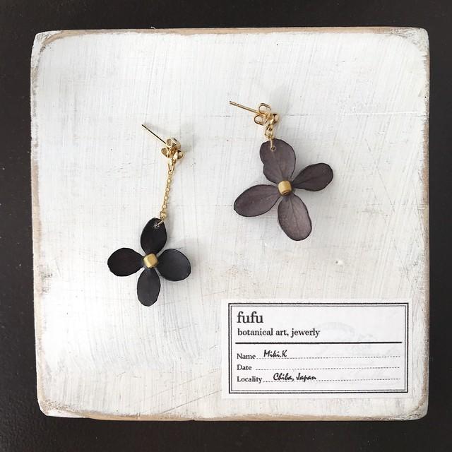 ※限定4【終了】黄紫陽花の大ぶりピアス/イヤリング